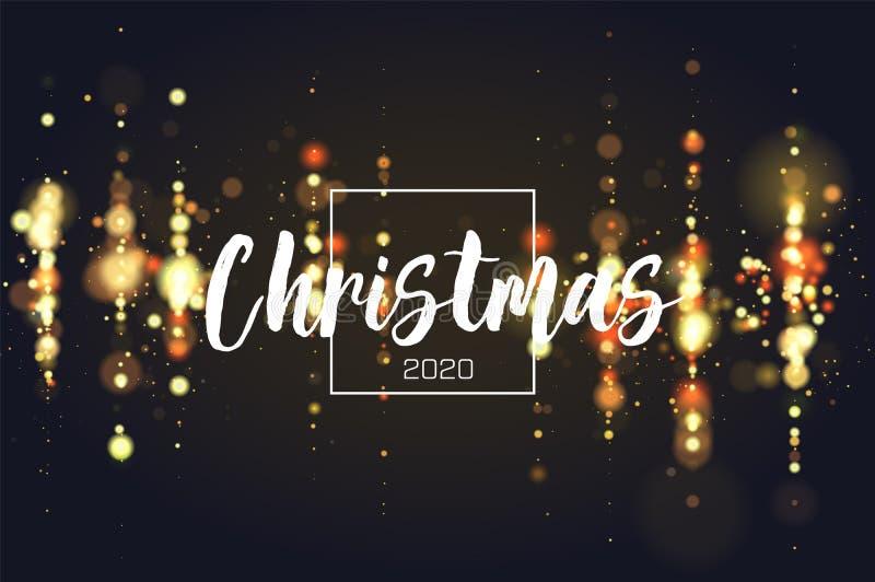 Fond 2020 de Noël d'étincelle de Bokeh Le scintillement allume le fond de luxe de charme Partie circulaire defocused de résumé illustration de vecteur