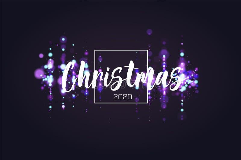 Fond 2020 de Noël d'étincelle de Bokeh Le scintillement allume le fond de luxe de charme Partie circulaire defocused de résumé illustration libre de droits