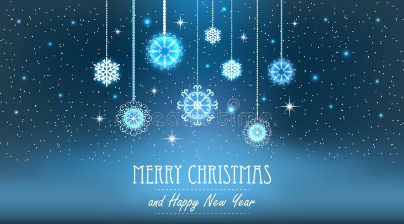 Fond de Noël d'abrégé sur illustration de vecteur Flocons de neige, ciel nocturne illustration de vecteur