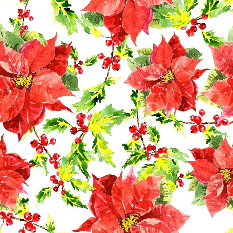 Fond de Noël d'aquarelle avec des feuilles illustration stock