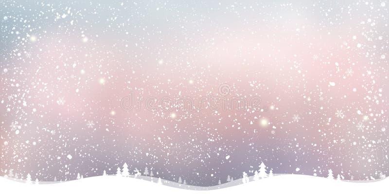Fond de Noël d'hiver avec le paysage, flocons de neige, lumière, étoiles illustration libre de droits