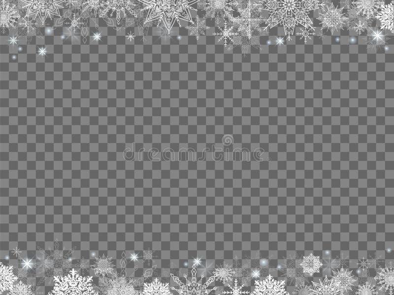 Fond de Noël de conte de fées cadre de beaucoup de flocons de neige transparent illustration stock
