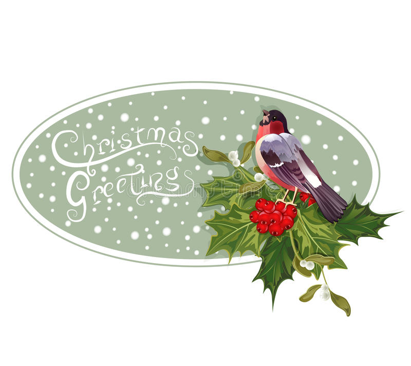 Fond de Noël de cru avec le bullfinch illustration de vecteur