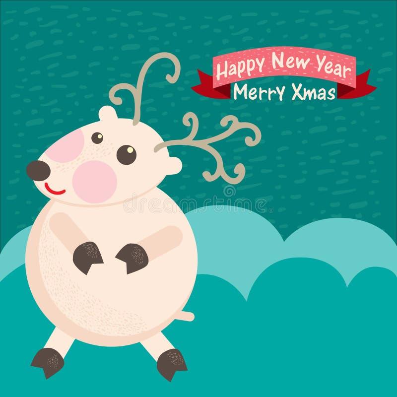 Fond de Noël et carte de voeux avec des cerfs communs illustration stock