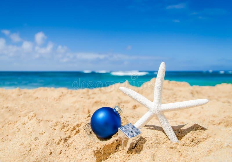 Fond de Noël et de bonne année sur la plage tropicale images stock