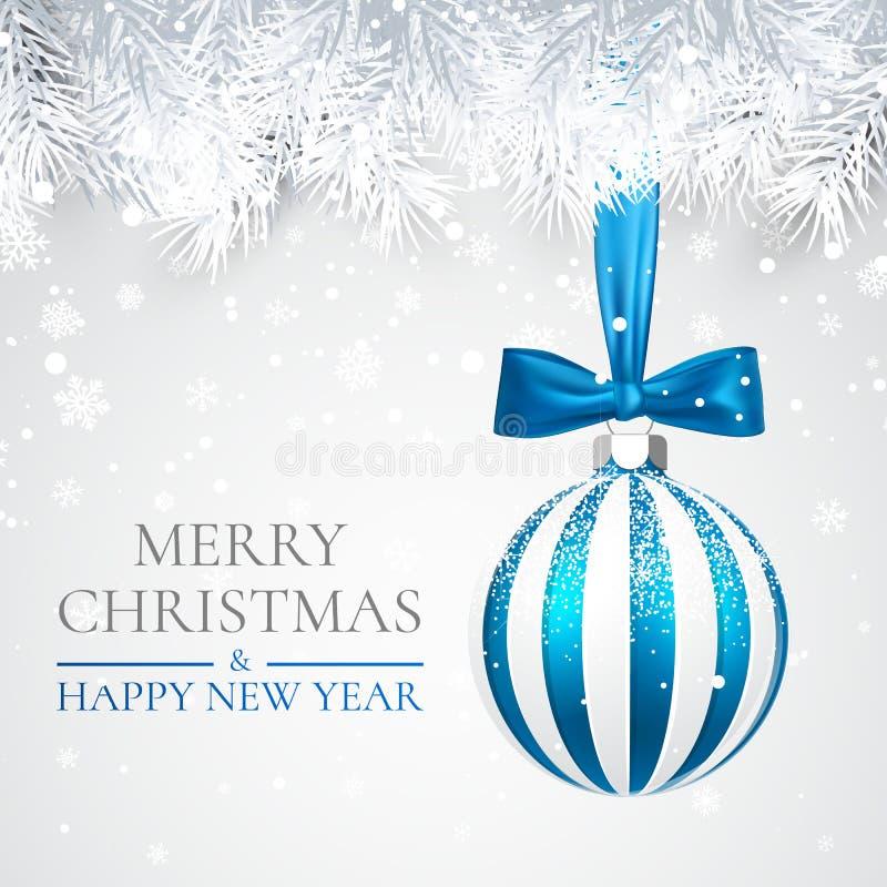 Fond de Noël et de nouvelle année avec la boule de Noël, la branche de sapin et la neige pour la conception de Noël Illustration  illustration libre de droits