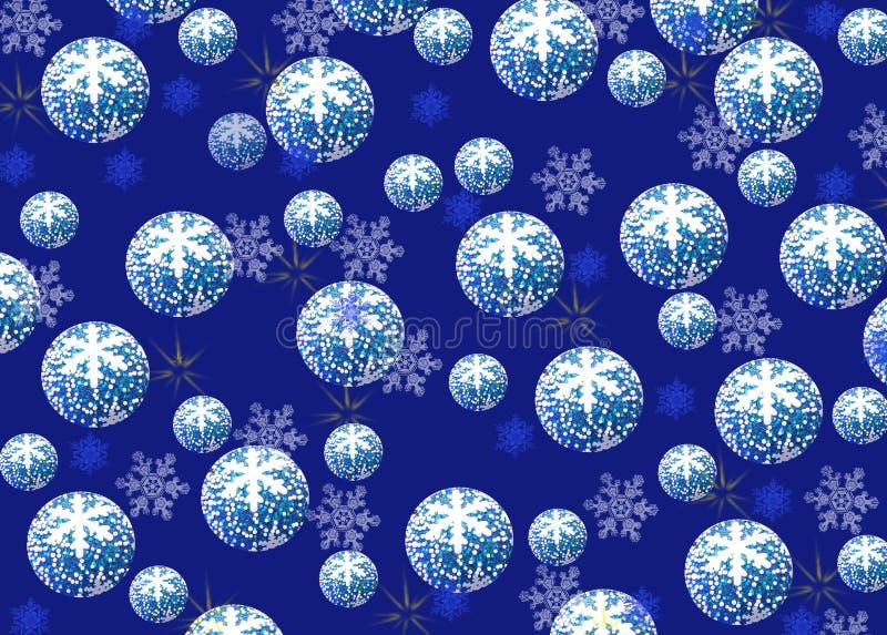 Fond de Noël et de nouvelle année, boules bleues avec un modèle de illustration stock
