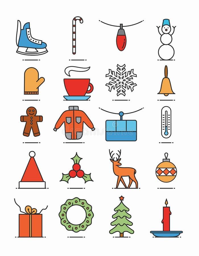 Fond de Noël, illustration plate, ensemble d'icône, modèle de Noël : patins, sucrerie, guirlande, bonhomme de neige, café, neige, illustration libre de droits