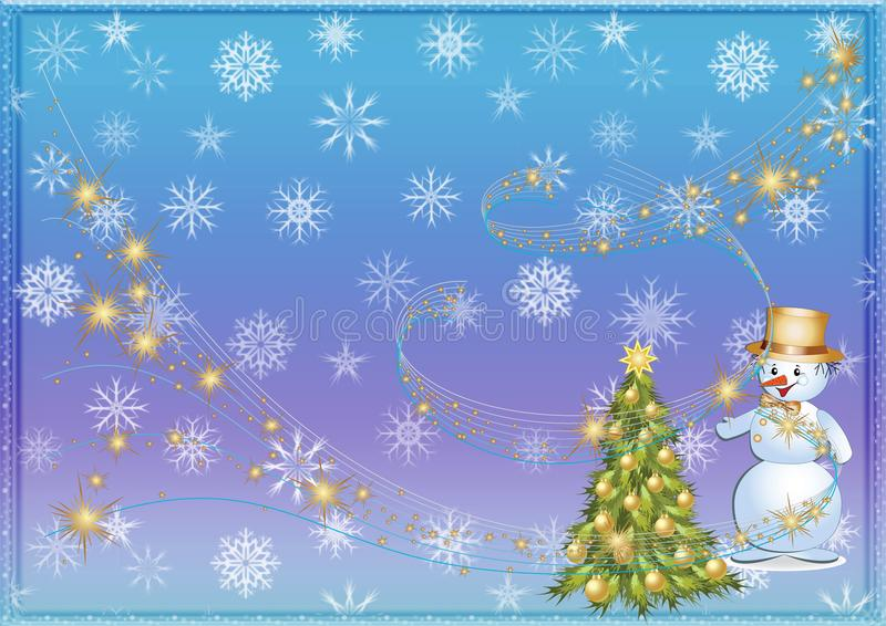 Fond de Noël ou fond de Noël Arbre Bonhomme de neige neige illustration libre de droits