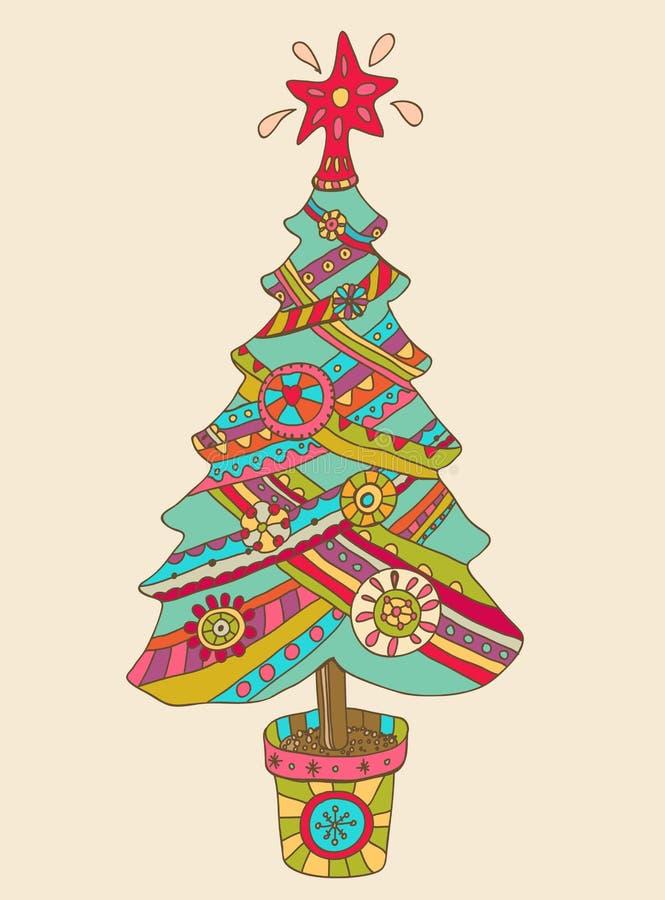 Fond de Noël ou de nouvelle année avec l'arbre de sapin de colorfull illustration stock
