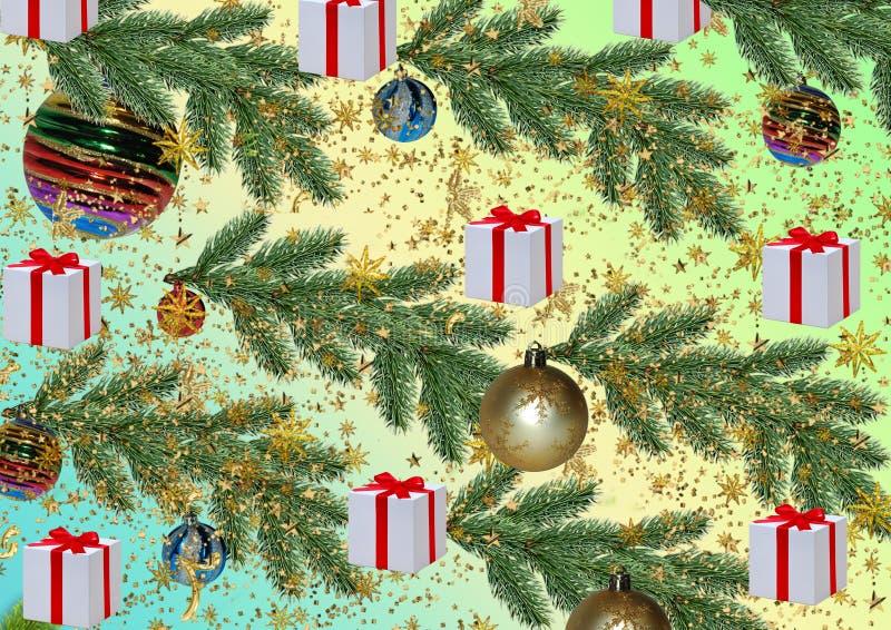 Fond de Noël Patern Texture pour l'emballage cadeau Soutien-gorge de pin illustration libre de droits