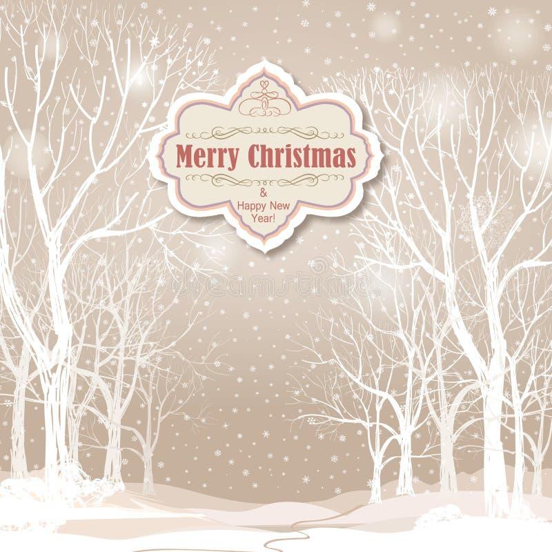 Fond de Noël Paysage d'hiver de neige Le rétro joyeux Christ illustration de vecteur