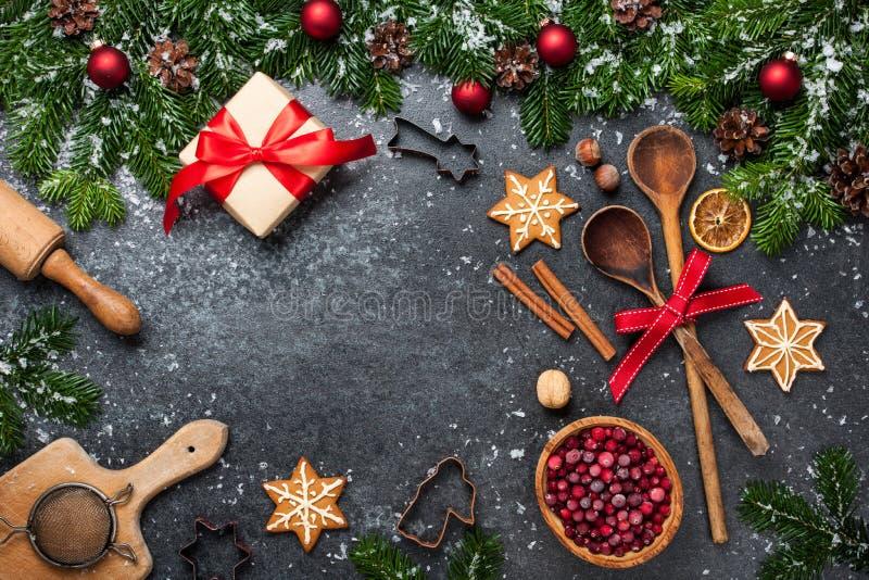 Fond de Noël Tableau pour des biscuits de cuisson de vacances photos libres de droits