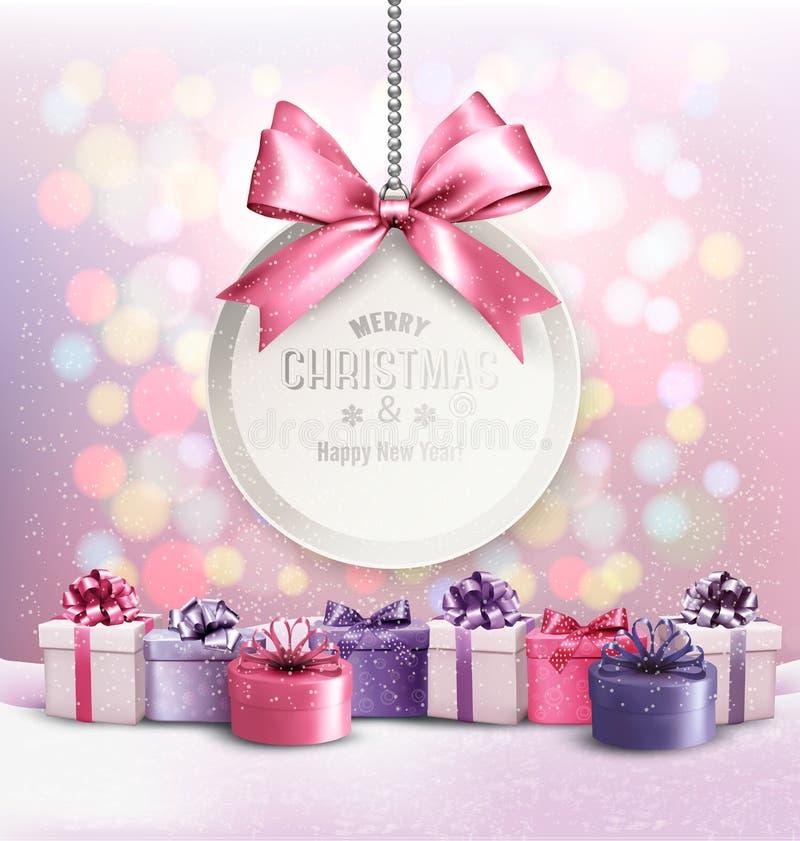 Fond de Noël de vacances avec obtenir la carte illustration stock