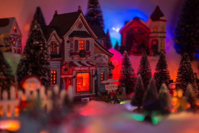 Fond de Noël de village de miniature de Noël images stock