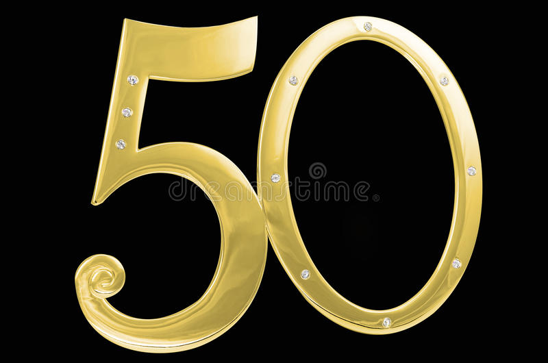Fond de noir d'isolement d'anniversaire de l'anniversaire 50 de cadre de photo d'or pierres marquetées par cadre dorées photos libres de droits