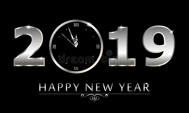 Fond de noir de nouvelle année du vecteur 2019 avec la texture argentée d'éclaboussure de confettis de scintillement illustration de vecteur