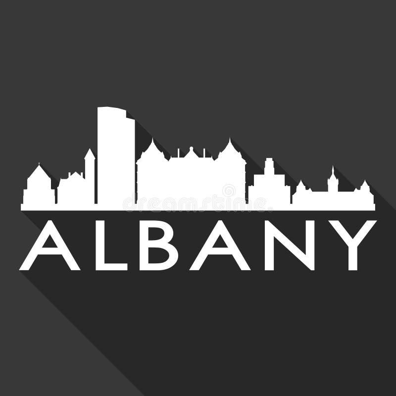 Fond de noir de silhouette de ville d'Art Flat Shadow Design Skyline de vecteur d'icône d'Albany New York Etats-Unis d'Amérique E illustration libre de droits