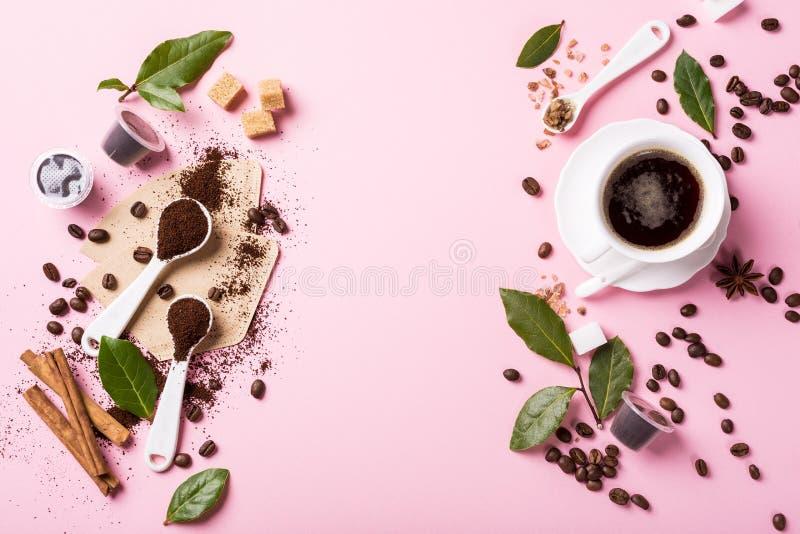 Fond de nourriture avec du café assorti photographie stock