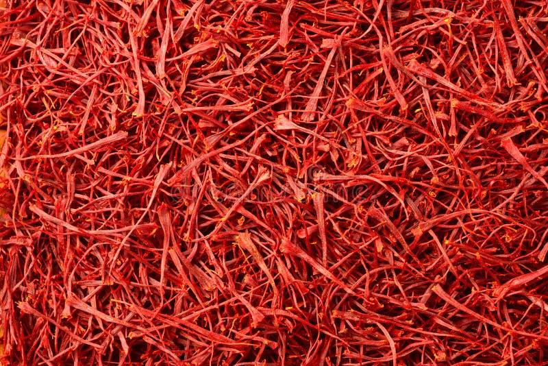 Fond de nourriture d'épice sèche de fil de safran photographie stock