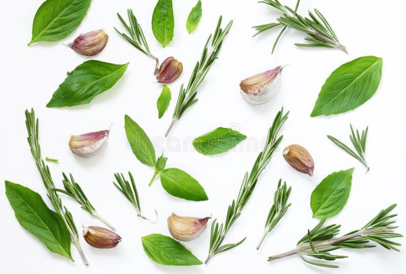 Fond de nourriture, feuilles de basilic et romarin, ail photos libres de droits