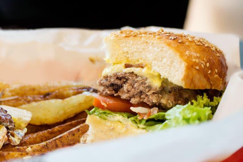 Fond de nourriture industrielle : Demi hamburger de fromage bleu avec du boeuf et des légumes sur le livre blanc avec la pomme de image stock