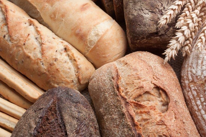 Fond de nourriture de pain fraîchement cuit au four avec des oreilles de blé images stock