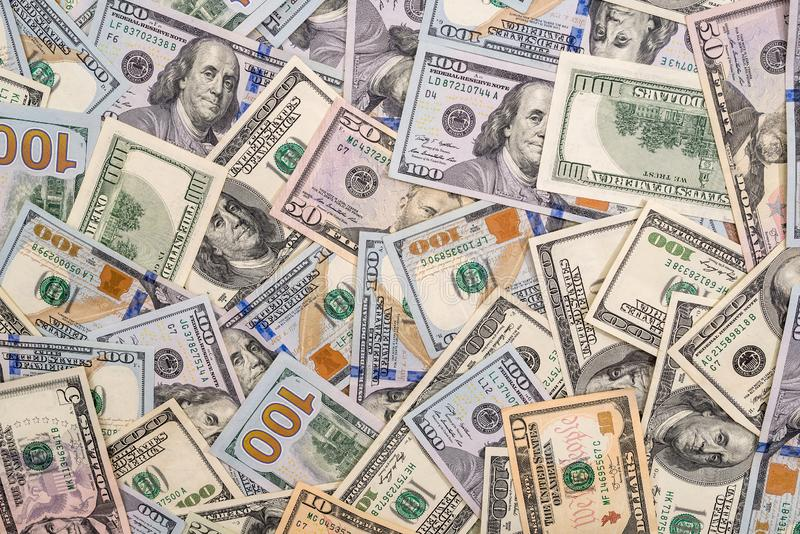 Fond de 100 nouveaux et de vieux billets d'un dollar photo libre de droits