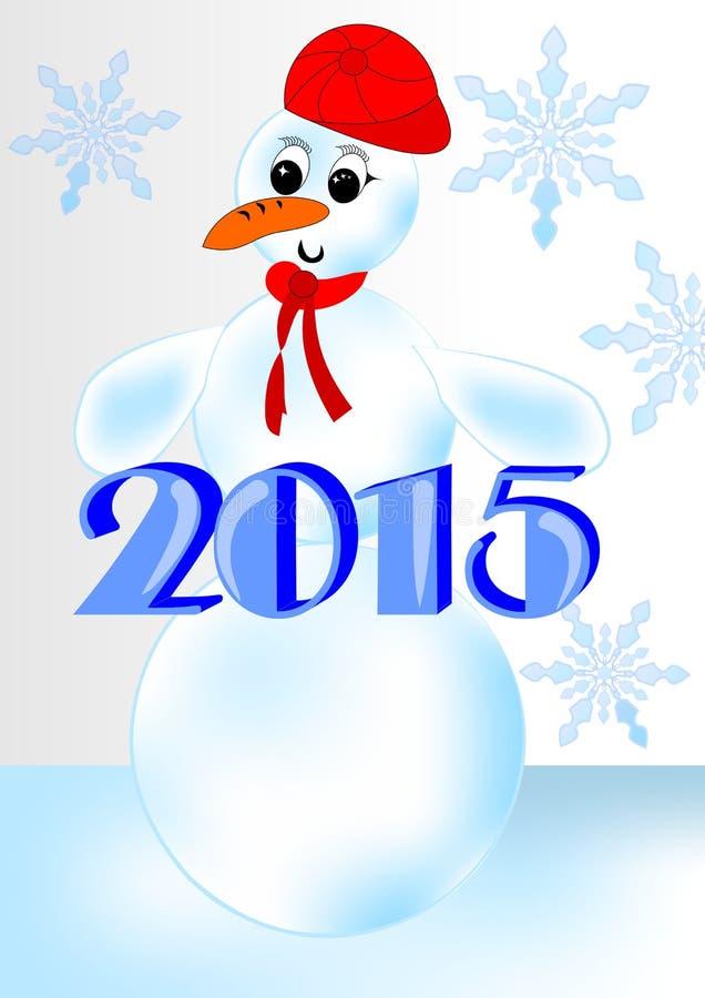 2015 - Fond de nouvelle année avec le bonhomme de neige dans le chapeau rouge illustration stock