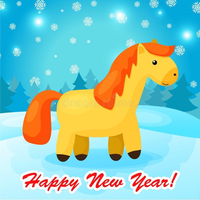 Fond de nouvelle année avec le cheval drôle de bande dessinée illustration libre de droits