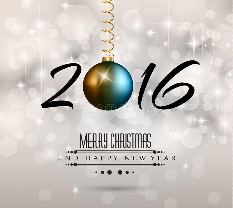 Fond de 2016 nouvelles années et de Noël heureux illustration stock