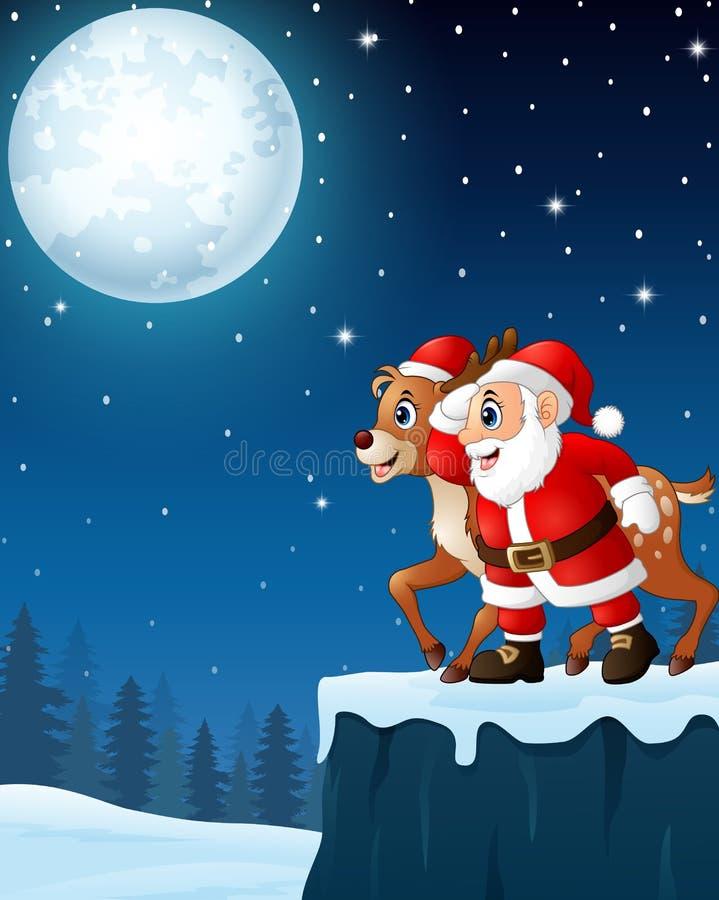 Fond de nuit de lune de Noël avec Santa Claus et le renne illustration de vecteur