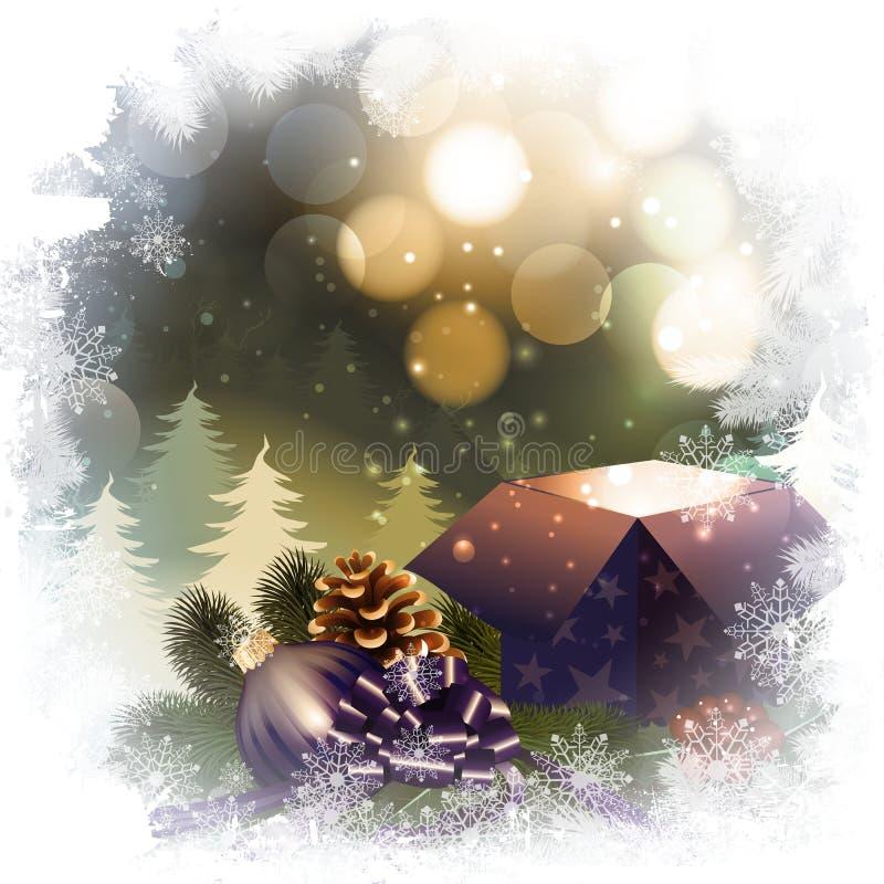 Download Fond De Nuit De Noël Avec Le Boîte-cadeau Illustration de Vecteur - Illustration du neuf, forêt: 45351308