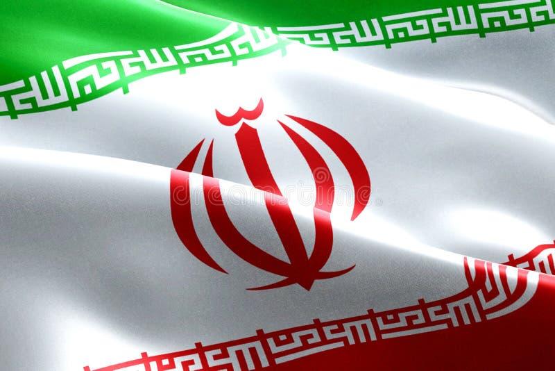 Fond de ondulation de tissu de texture de drapeau iranien, crise de l'Iran pour nucléaire illustration stock