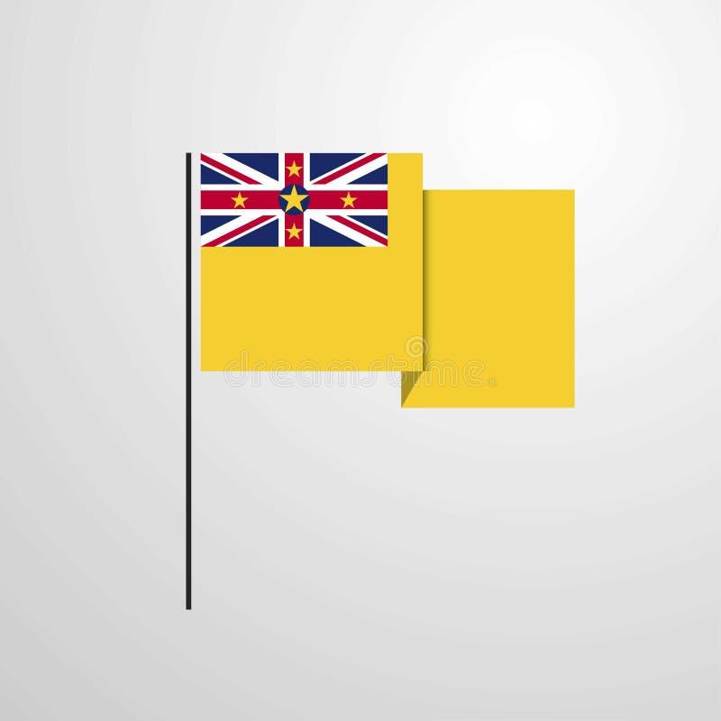Fond de ondulation de vecteur de conception de drapeau du Niué illustration de vecteur