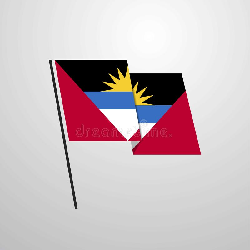 Fond de ondulation de vecteur de conception de drapeau de l'Antigua-et-Barbuda illustration libre de droits