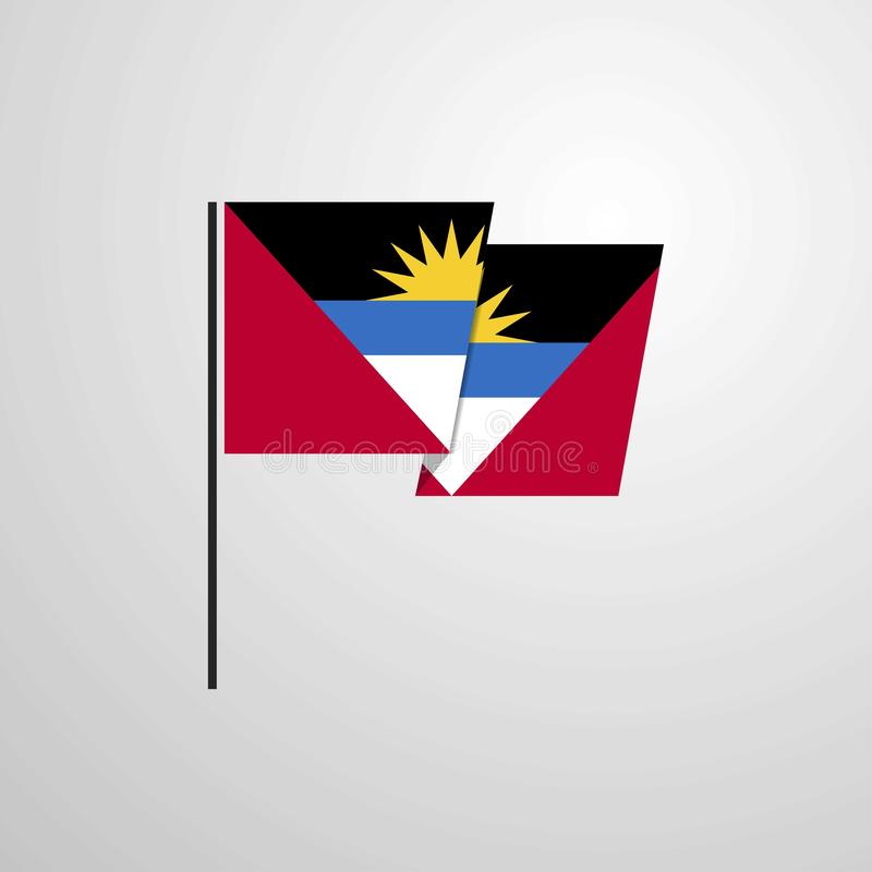 Fond de ondulation de vecteur de conception de drapeau de l'Antigua-et-Barbuda illustration stock