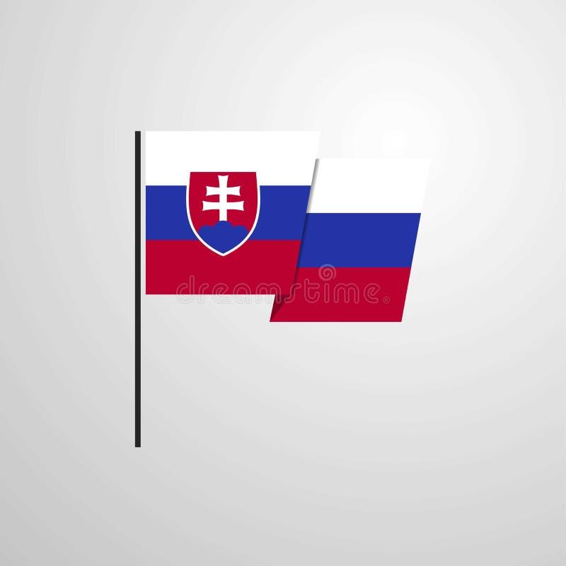 Fond de ondulation de vecteur de conception de drapeau de la Slovaquie illustration libre de droits