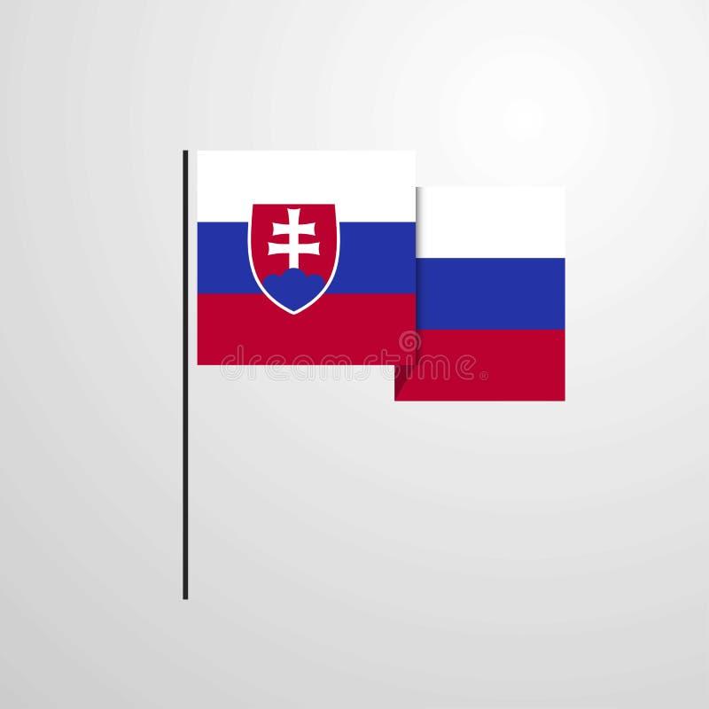 Fond de ondulation de vecteur de conception de drapeau de la Slovaquie illustration stock