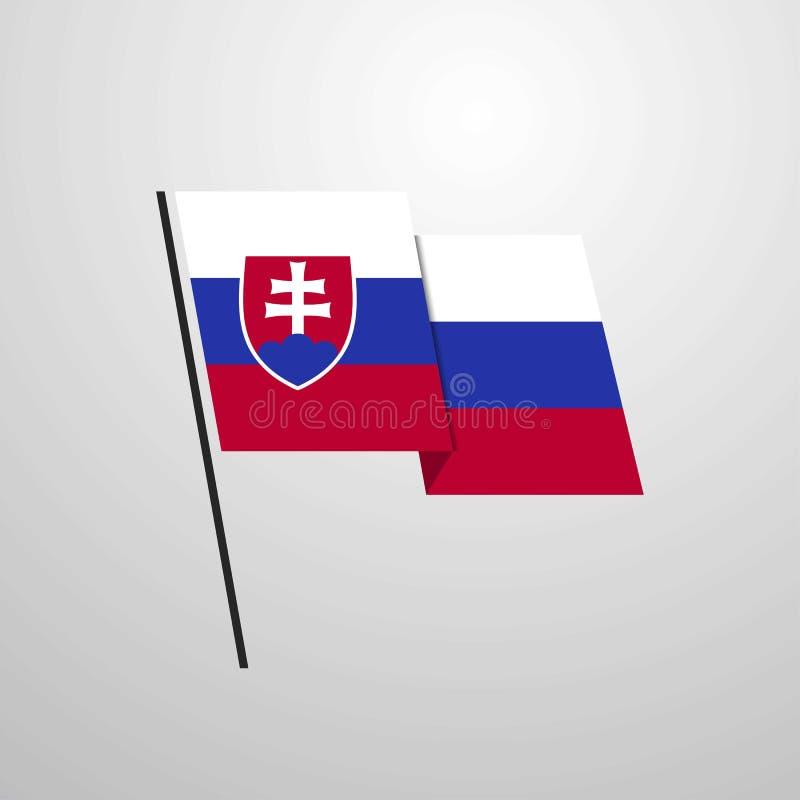 Fond de ondulation de vecteur de conception de drapeau de la Slovaquie illustration de vecteur