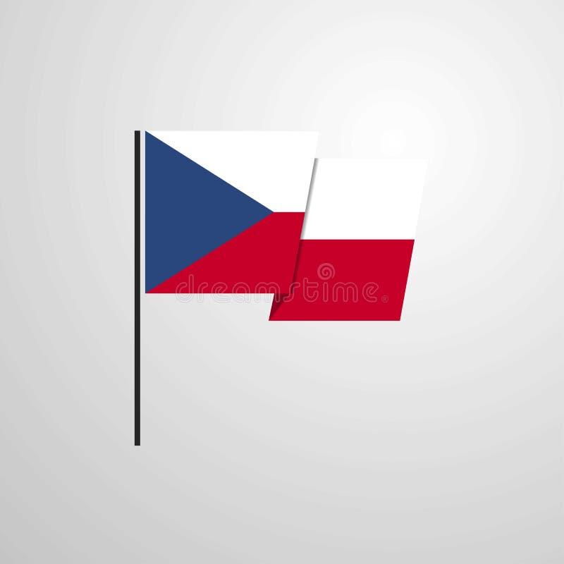 Fond de ondulation de vecteur de conception de drapeau de République Tchèque illustration stock