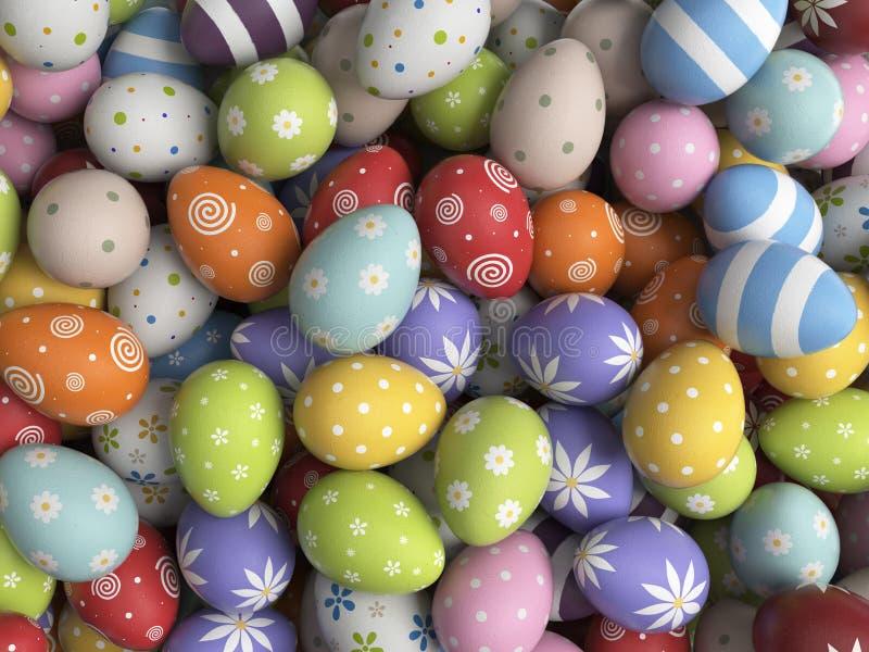 Fond de Pâques rempli d'oeufs colorés 3D image libre de droits
