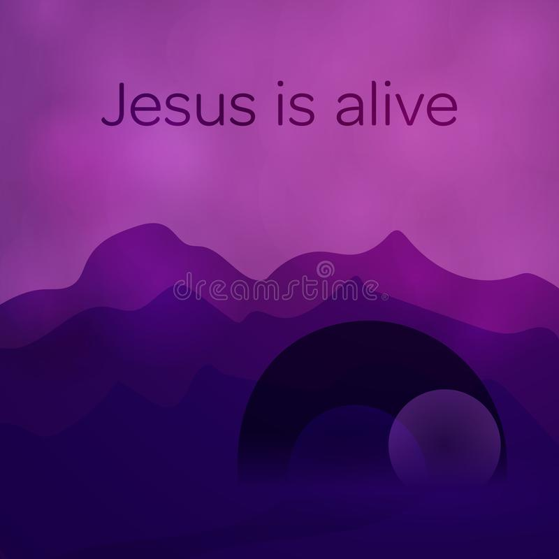 Fond de Pâques - tombe vide illustration stock
