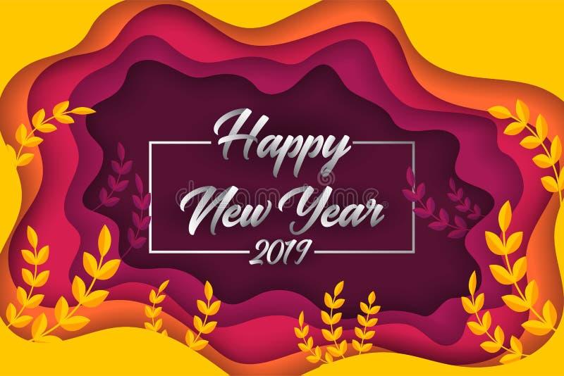 Fond de papier coloré de carte de voeux de coupe de la bonne année 2019 illustration libre de droits
