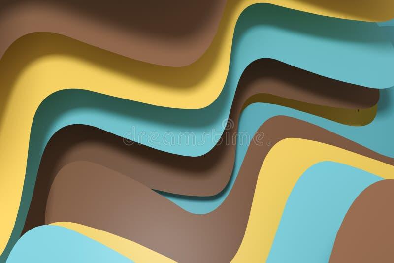 fond de papier de courbe du rendu 3d, fond coloré illustration de vecteur