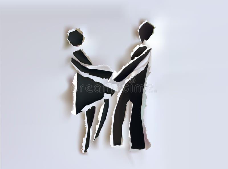 Fond de papier de collection avec les couples et le baiser heureux illustration libre de droits