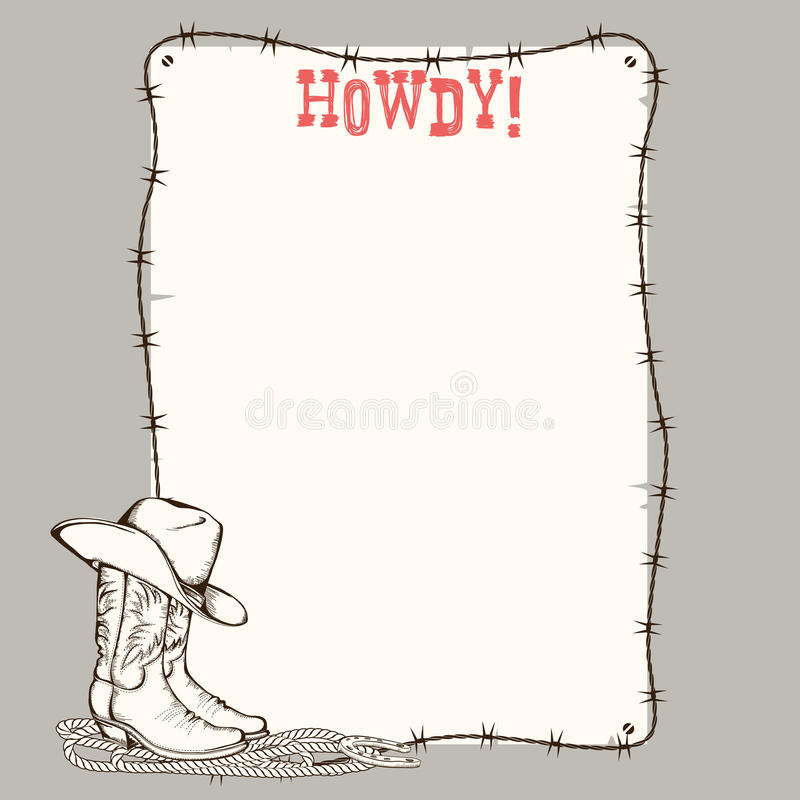Fond de papier de cowboy avec les bottes occidentales et chapeau pour le texte illustration stock