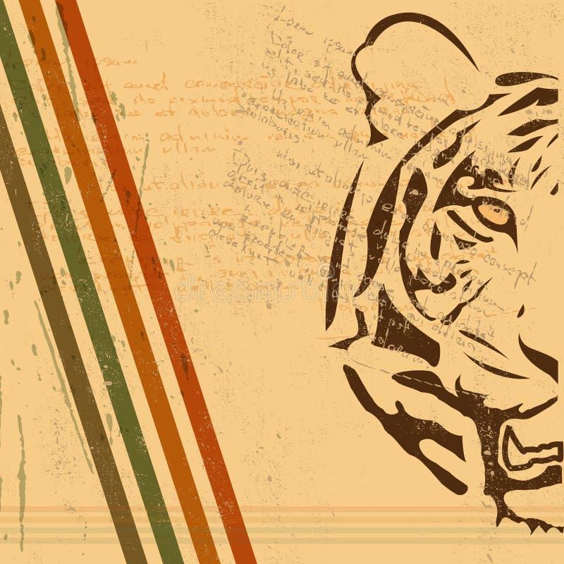 Fond de papier de cru avec le papier brûlé par tigre illustration libre de droits