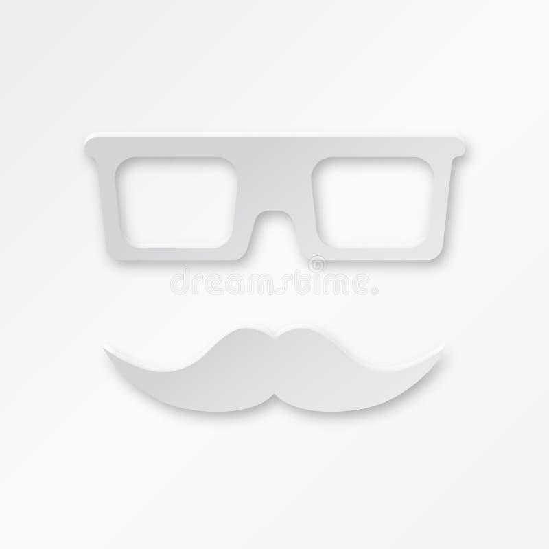 Fond de papier de hippie de vecteur avec des verres et illustration stock
