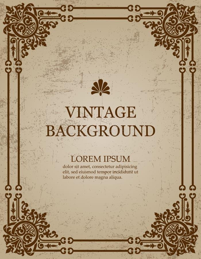 Fond de papier de vintage de vecteur vieux avec le cadre royal de modèle comme calibre pour créer des couvertures de livre illustration de vecteur